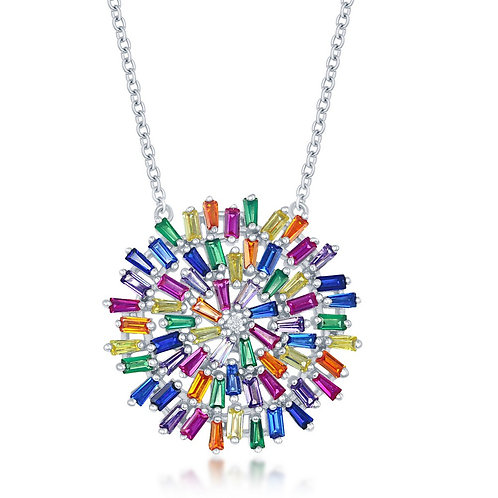 Sterling Silver Rainbow Baguette Round Necklace CSN-M-6273