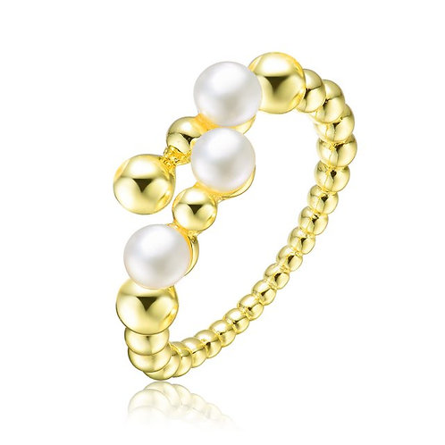 Sterling Silver with Gold Plated and 4MM Fresh Water Pearl Modern CSR-FPR9544-GP