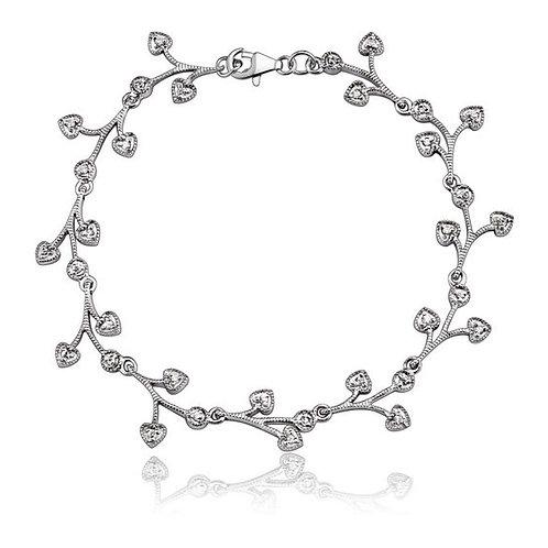 Sterling Silver Branches Design Pave Bracelet TCB-BR598