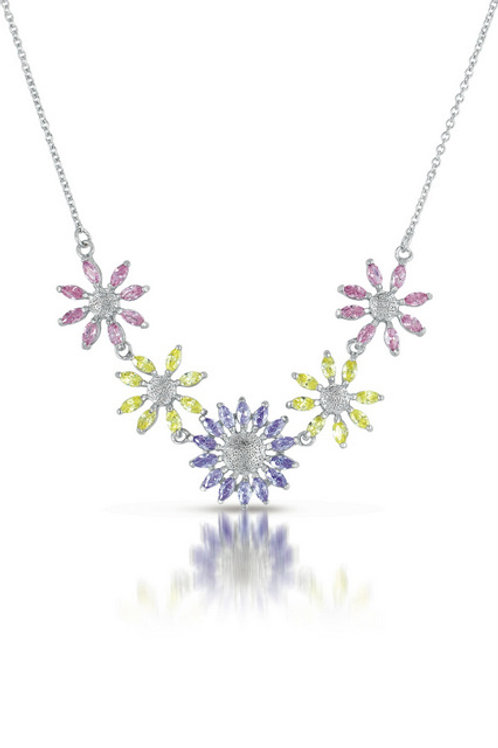 Sterling Silver Pastel Cubic Zirconia Floral Power Necklace NEC749