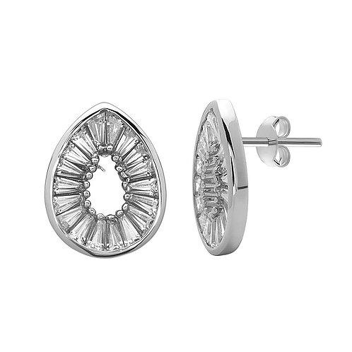 Sterling Silver Open Teardrop with Baguettes Earrings CL-D-5710