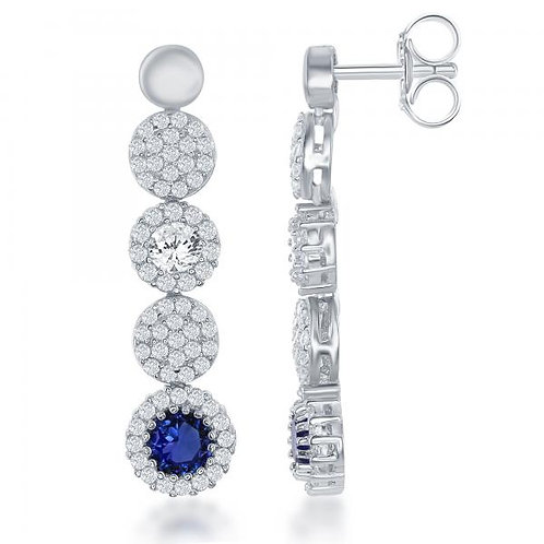 Circle Pave Drop Sapphire Stone Earrings TCE-D-6327