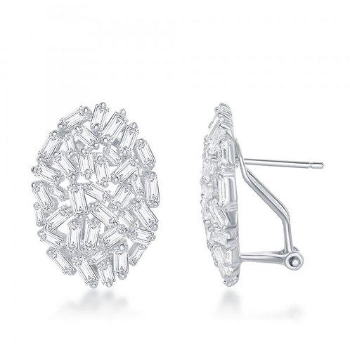 Sterling Silver Large Oval Baguette Stone Earrings TCSE-D-6494
