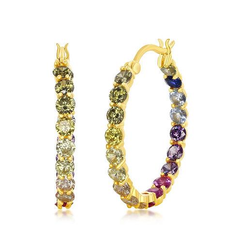 Sterling Silver Gold Plated Inside-Outside Rainbow Hoop Earrings CL-D-7128-GP