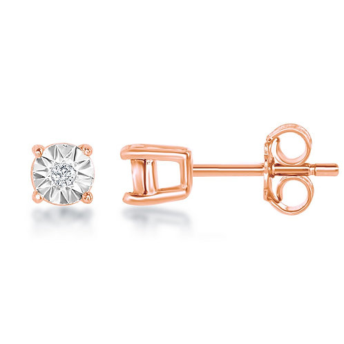 Sterling Silver 3MM Rose Gold Plated Stud Earrings CL-D-6177-RG