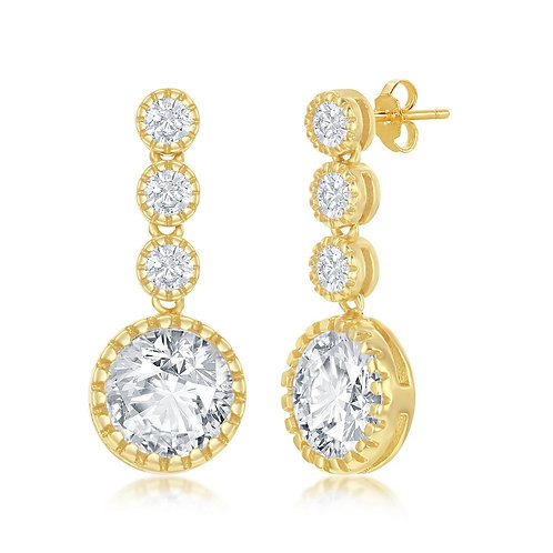 Sterling Silver Gold Plated Round Dangling Earrings TE-D-7255-GP