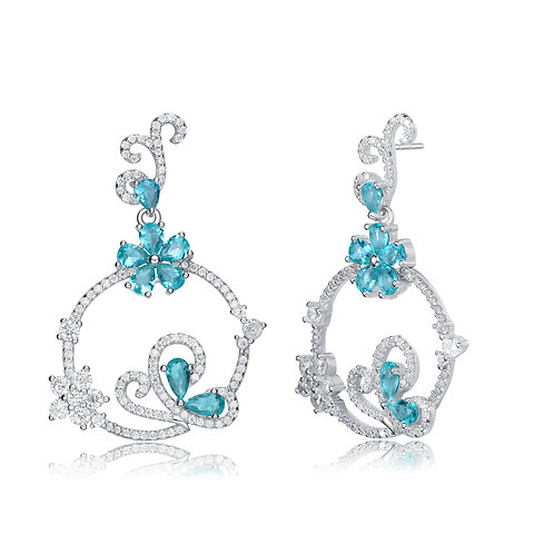 Magnificent Blue Colored Stone Pave' Set Earrings TSE-EAR9932-AQ