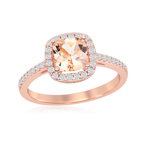 Sterling Silver Rose Gold Plated Square Morganite CL-W-1936