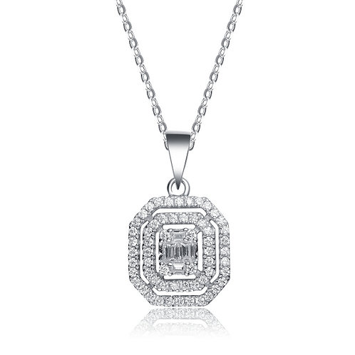 Sterling Silver Pave Set Stone Pendant With Emerald Cut Stone TCN-PEN9772
