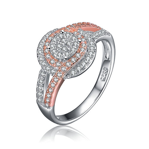 Sterling Silver Pave` Rose Toned Engagement Ring TCR-R2133