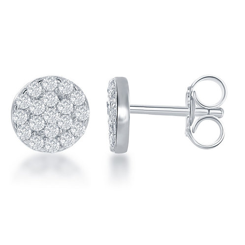 Sterling Silver Small Round Stud Earrings CL-D-6329