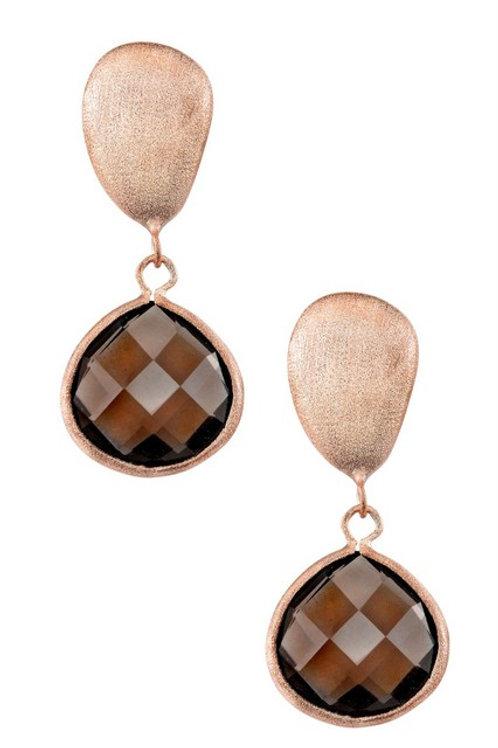 Rose Gold Cusion Cut Smokey Topaz Stone Earrings CSE-GE1401-DSQ-ROSE