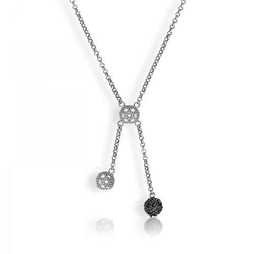 CZ Blk/Whitet Pave Ball Necklace M-3680
