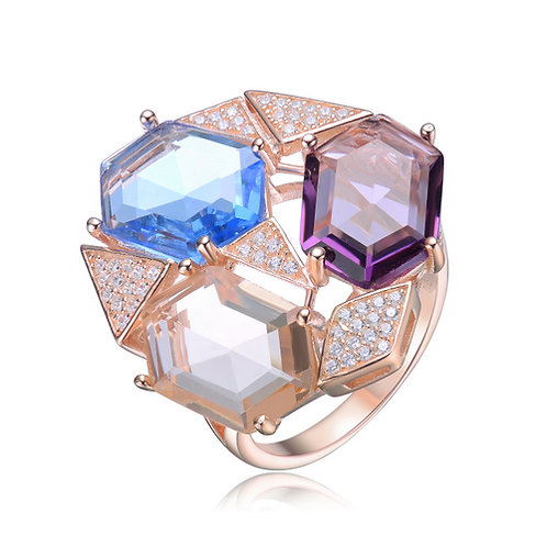Sterling Silver with Rose Gold Plated Multi Colored Hexagon Stone Ring CSR-R8303