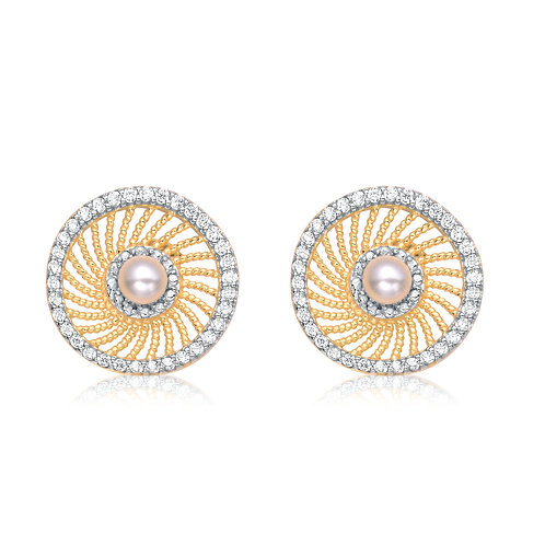 Two Toned Fresh Water Pearl Stud Earrings CE-EAR7010