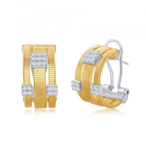 Sterling Silver Designer Earrings, Set with 14K Gold. CSE-D-6983