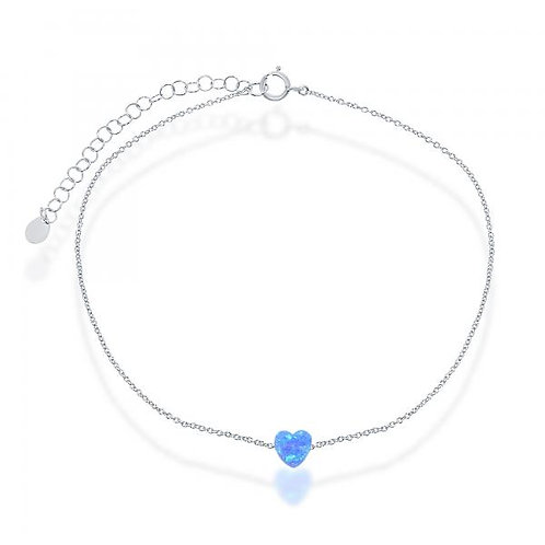 Sterling Silver/Rhodium Plated Blue Opal Heart Anklet ANK-R-9201