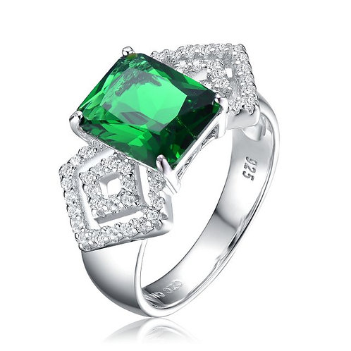 Sterling Silver with Rhodium Plated Emerald Green Stone Pave Ring TR-R8992-E