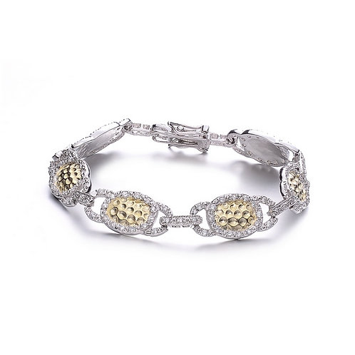 2 Toned Hammered Style Bracelet CSB-BR1963
