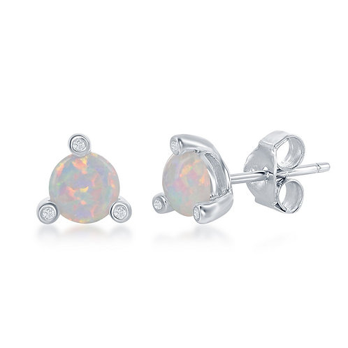 Sterling Silver Three-Prong Round White Opal Stud Earrings CL-D-6351