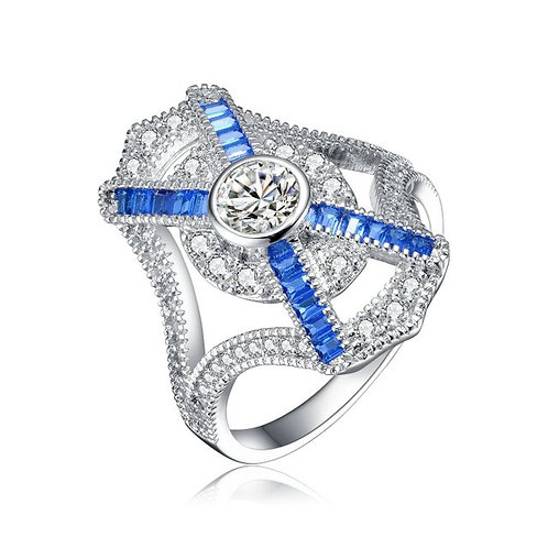 Sterling Silver Baguette and Round Coctail Ring TCR-R5702-S
