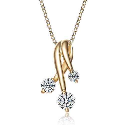 Sterling Silver Deco Gold Plated Strands Pendant CSN-PEN417-GP