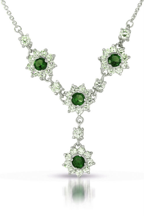 Platinum Plated / Sterling Silver Emerald Colored stone Necklace TN-NEC1984-E