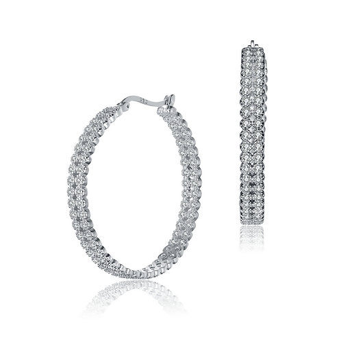 Sterling Silver Cubic Braided Pave Set Hoop Earrings TCE-EAR5785