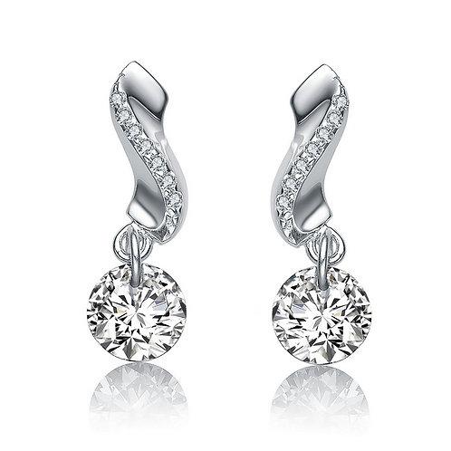 Sterling Silver Rhodium Plated Round Swirl Drop Earrings CL-EAR2615-CZ