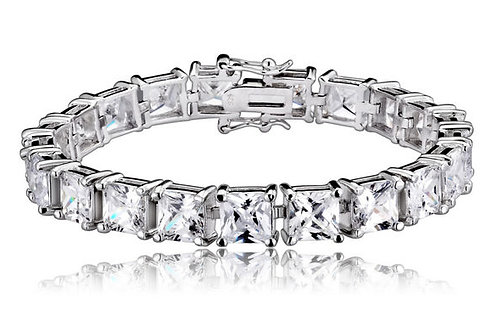 Sterling Silver Cubic Zirconia Princess-cut 5 MM Tennis Bracelet BR2315