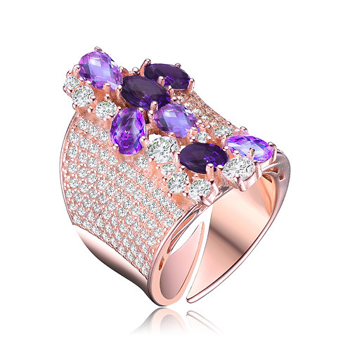Rose Gold Amethyst Colored Pave` Style Ring CSR-R3146-A