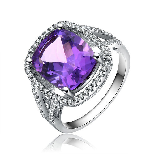 Sterling Silver 4.00ctw Simulated Amethyst Ring TCR-R2720