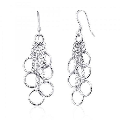 Sterling Silver Multi Open Circles Dangling Earrings CSE-A-2014