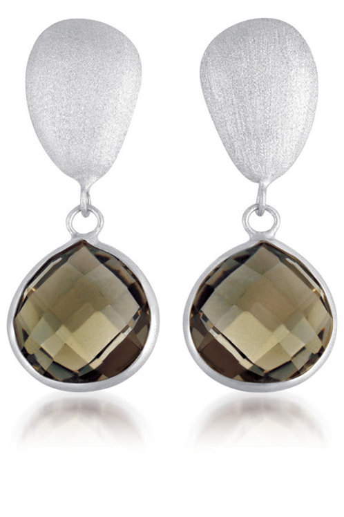 Rhodium Overlay and Genuine Smoky Quartz Stone Earrings GE1401-LSQ-RP