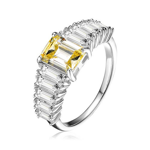 Sterling Silver with Rhodium Plated Yellow Asscher Style Ring TR-R9784-Y