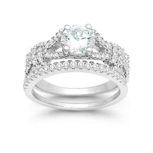 Sterling Silver Engagement and Wedding Ring Set TR-W-9898