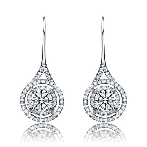 Stunning Drop Simulated Diamond Bezel Set Pave Earrings EAR9520