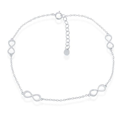 Sterling Silver/Rhodium Plated infinity Style Anklet ANK-R-9149