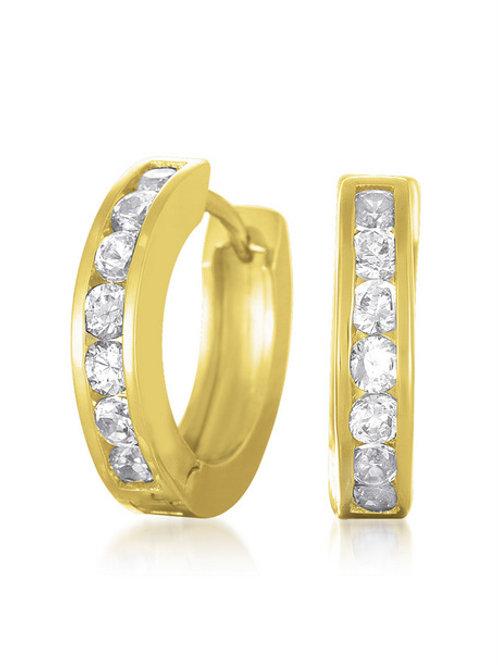 Small Yellow Toned Huggie Style Earrings CE-EAR1447-GP