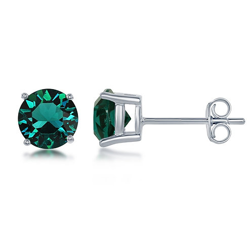 "Sterling Silver 6MM Emerald ""May"" Swarovski Element Earrings CL-D-6530"