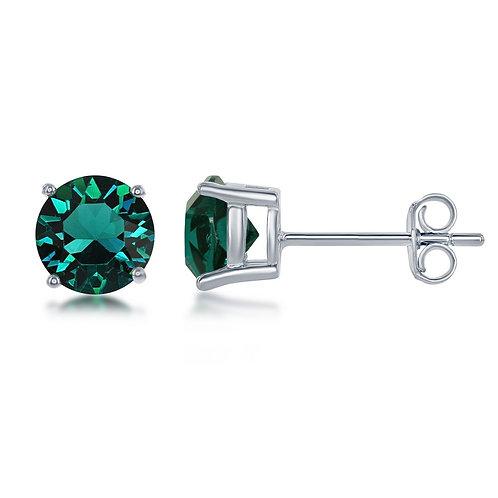 "Sterling Silver 6MM Emerald ""May"" Swarovski Element Earrings CL-D-6530"