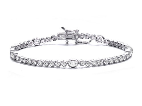 Sterling Silver with Rhodium Plated Oval/Round Stone Tennis Bracelet TCB-BR3257