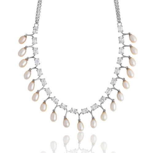 FRESH WATER PEARL & CZ NECKLACE M-3705