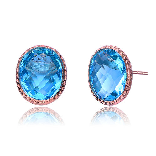 Rose Gold Plated Blue Topaz Oval Stone Earrings TCE-EAR8599