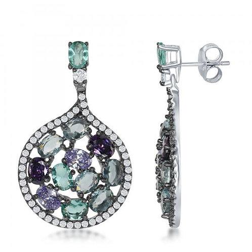 Sterling Silver Multi-Color Drop Earrings TCSE-D-6488