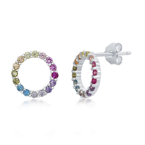 Sterling Silver Rainbow Open Circle Stud Earrings CL-D-7139