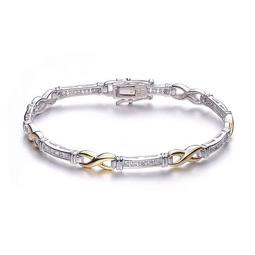 Sterling Silver 2 Tone Infinity Style Bracelet CB-BR1924