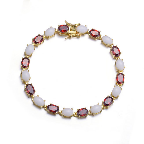 Sterling Silver Cabochon and Garnet Stone Style Bracelet CSB-BR1328-G-O