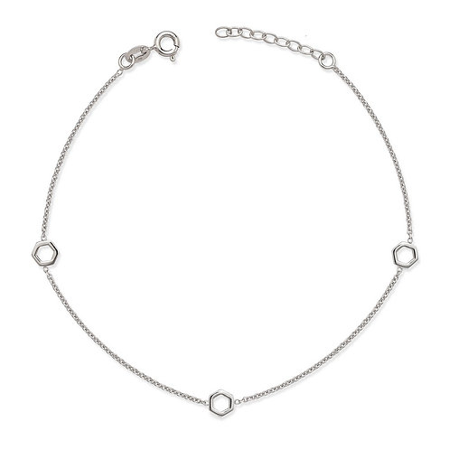 Sterling Silver Open Hexagon Anklet ANK-R-9141