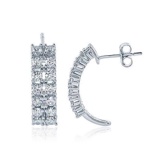 Sterling Silver Double Row Half Hoop Earrings CL-D-6054
